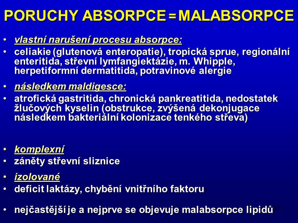 33 PORUCHY ABSORPCE = MALABSORPCE vlastní narušení procesu absorpce:vlastní narušení procesu absorpce: celiakie (glutenová enteropatie), tropická sprue, regionální enteritida, střevní lymfangiektázie, m.