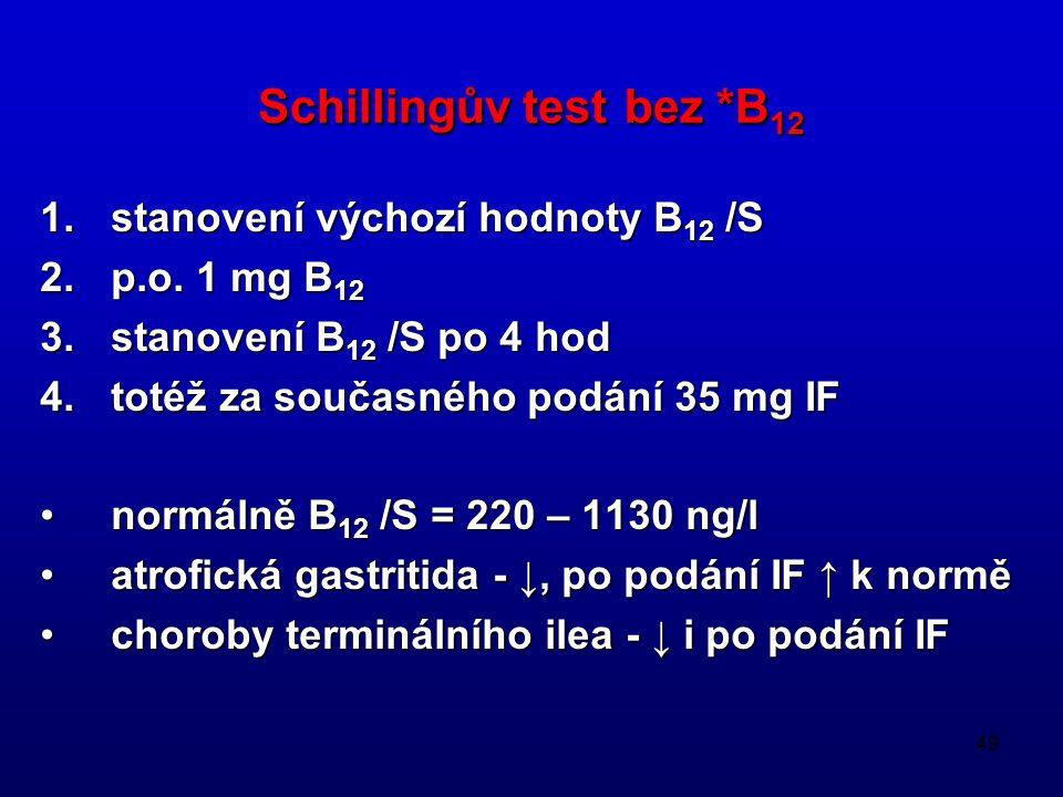 49 Schillingův test bez *B 12 1.stanovení výchozí hodnoty B 12 /S 2.p.o. 1 mg B 12 3.stanovení B 12 /S po 4 hod 4.totéž za současného podání 35 mg IF