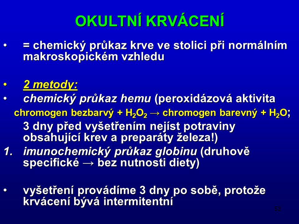 53 OKULTNÍ KRVÁCENÍ = chemický průkaz krve ve stolici při normálním makroskopickém vzhledu= chemický průkaz krve ve stolici při normálním makroskopickém vzhledu 2 metody:2 metody: chemický průkaz hemu (peroxidázová aktivitachemický průkaz hemu (peroxidázová aktivita chromogen bezbarvý + H 2 O 2 → chromogen barevný + H 2 O ; chromogen bezbarvý + H 2 O 2 → chromogen barevný + H 2 O ; 3 dny před vyšetřením nejíst potraviny obsahující krev a preparáty železa!) 1.imunochemický průkaz globinu (druhově specifické → bez nutnosti diety) vyšetření provádíme 3 dny po sobě, protože krvácení bývá intermitentnívyšetření provádíme 3 dny po sobě, protože krvácení bývá intermitentní