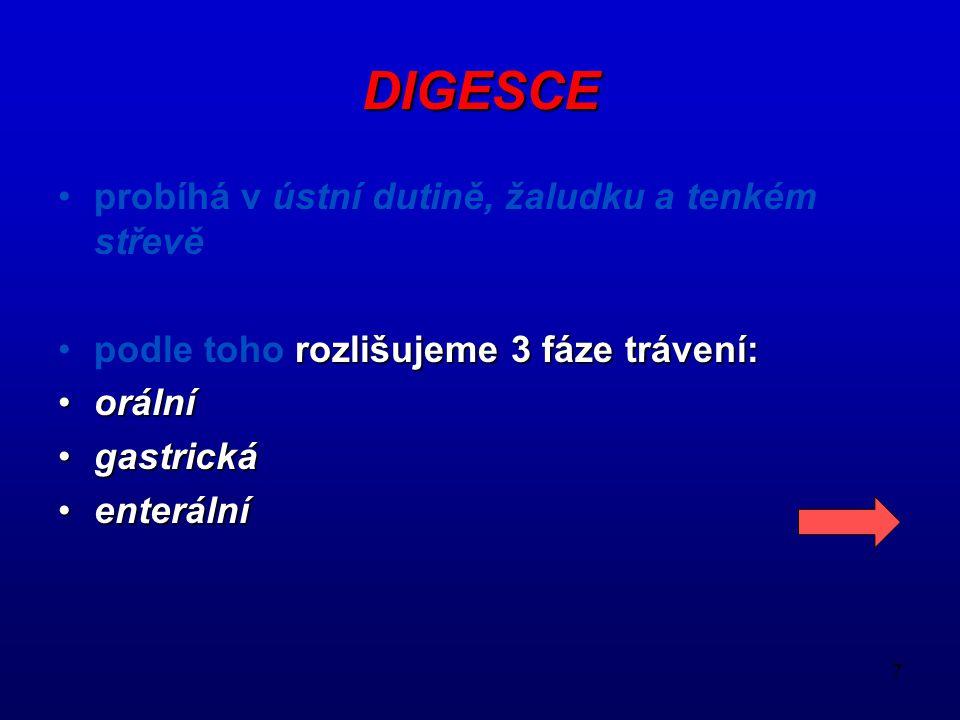 7 DIGESCE probíhá v ústní dutině, žaludku a tenkém střevě podle toho rozlišujeme 3 fáze trávení: orální gastrická enterální