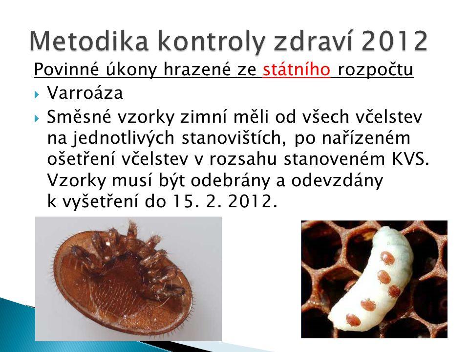 Povinné úkony hrazené ze státního rozpočtu  Varroáza  Směsné vzorky zimní měli od všech včelstev na jednotlivých stanovištích, po nařízeném ošetření