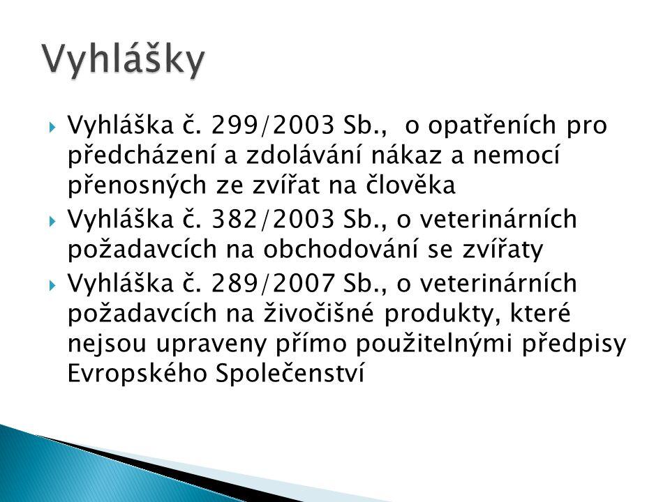  Vyhláška č. 299/2003 Sb., o opatřeních pro předcházení a zdolávání nákaz a nemocí přenosných ze zvířat na člověka  Vyhláška č. 382/2003 Sb., o vete
