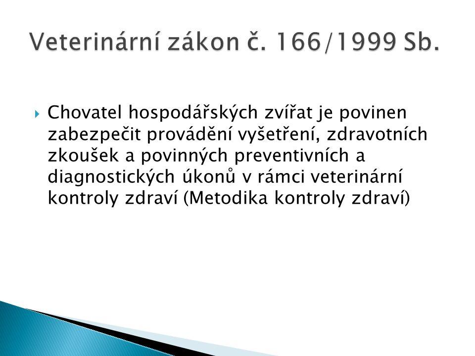  Chovatel hospodářských zvířat je povinen zabezpečit provádění vyšetření, zdravotních zkoušek a povinných preventivních a diagnostických úkonů v rámc
