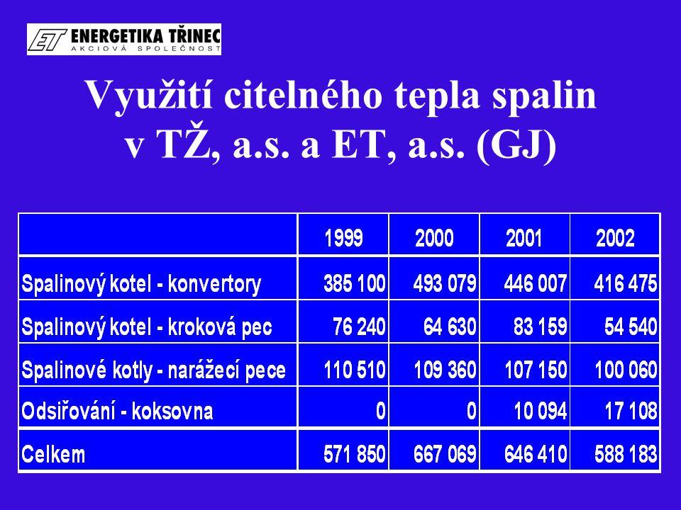 Využití citelného tepla spalin v TŽ, a.s. a ET, a.s. (GJ)