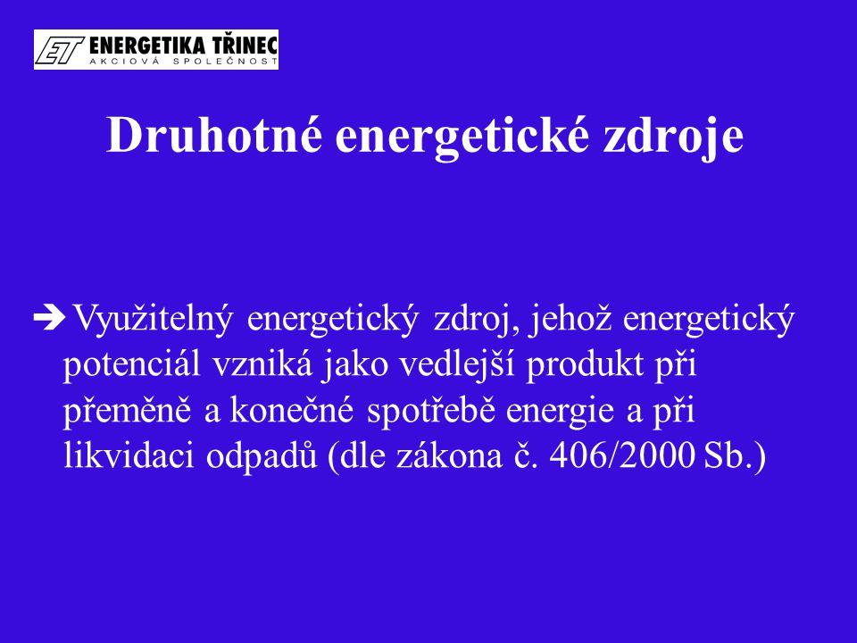 Druhotné energetické zdroje  Využitelný energetický zdroj, jehož energetický potenciál vzniká jako vedlejší produkt při přeměně a konečné spotřebě en