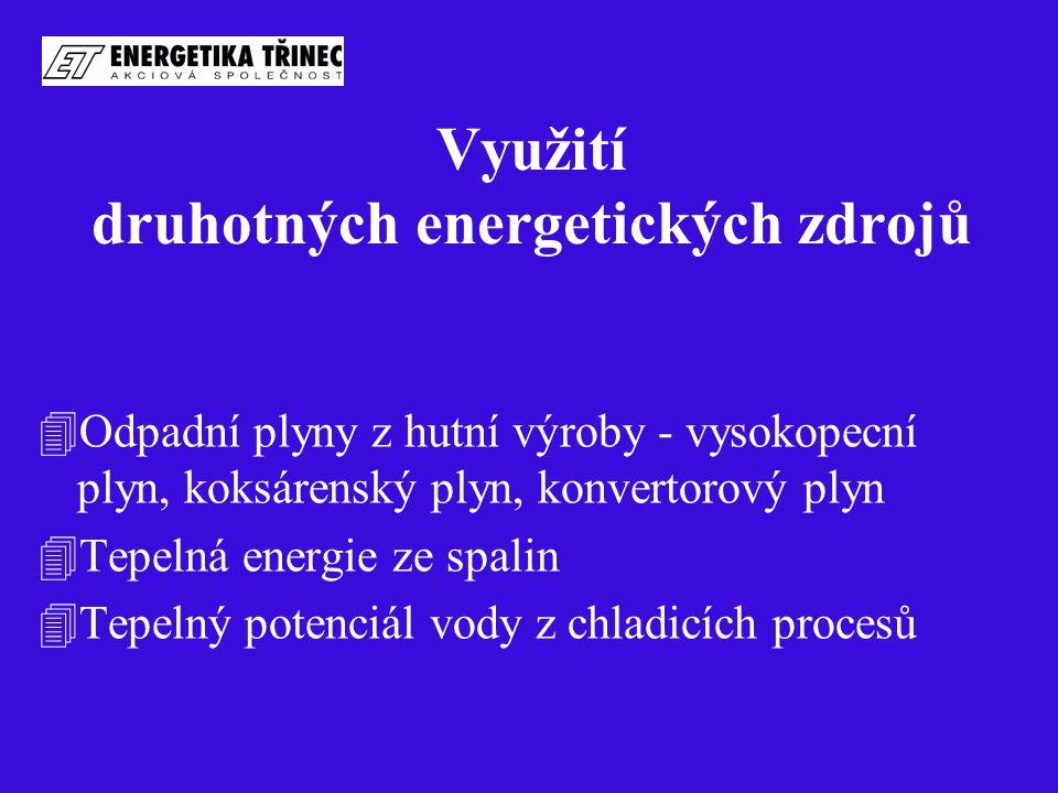 Využití druhotných energetických zdrojů 4Odpadní plyny z hutní výroby - vysokopecní plyn, koksárenský plyn, konvertorový plyn 4Tepelná energie ze spal