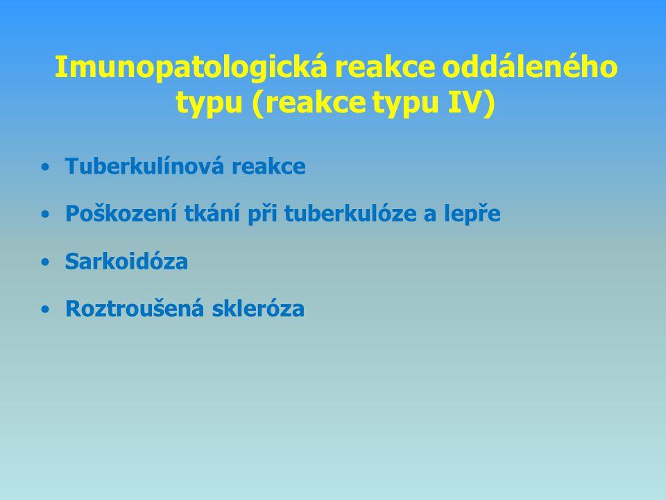 Imunopatologická reakce oddáleného typu (reakce typu IV) Tuberkulínová reakce Poškození tkání při tuberkulóze a lepře Sarkoidóza Roztroušená skleróza