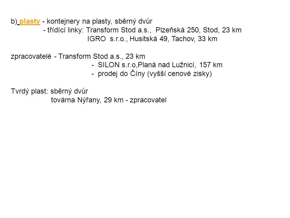 b) plasty - kontejnery na plasty, sběrný dvůr - třídící linky: Transform Stod a.s., Plzeňská 250, Stod, 23 km IGRO s.r.o., Husitská 49, Tachov, 33 km zpracovatelé - Transform Stod a.s., 23 km - SILON s.r.o,Planá nad Lužnicí, 157 km - prodej do Číny (vyšší cenové zisky) Tvrdý plast: sběrný dvůr továrna Nýřany, 29 km - zpracovatel