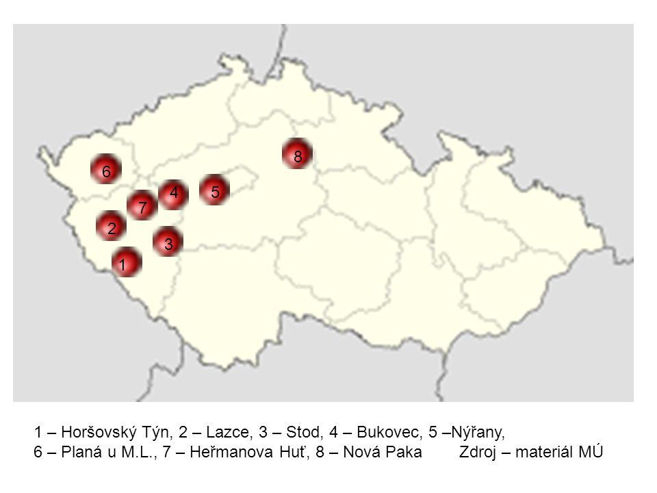 1 2 3 4 6 7 1 – Horšovský Týn, 2 – Lazce, 3 – Stod, 4 – Bukovec, 5 –Nýřany, 6 – Planá u M.L., 7 – Heřmanova Huť, 8 – Nová Paka Zdroj – materiál MÚ 5 8