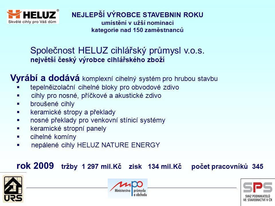 NEJLEPŠÍ VÝROBCE STAVEBNIN ROKU umístění v užší nominaci kategorie nad 150 zaměstnanců Společnost HELUZ cihlářský průmysl v.o.s. největší český výrobc