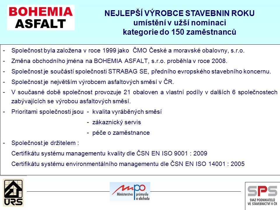 -Společnost byla založena v roce 1999 jako ČMO České a moravské obalovny, s.r.o. -Změna obchodního jména na BOHEMIA ASFALT, s.r.o. proběhla v roce 200