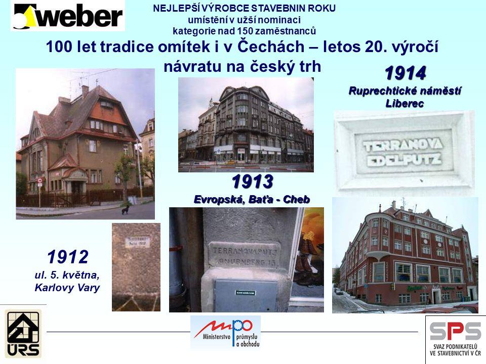 100 let tradice omítek i v Čechách – letos 20. výročí návratu na český trh 1912 ul. 5. května, Karlovy Vary 1913 Evropská, Baťa - Cheb 1914 Ruprechtic