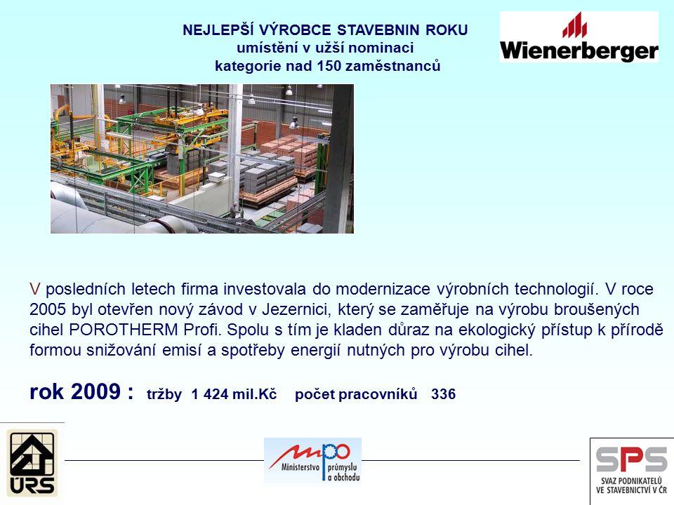 V posledních letech firma investovala do modernizace výrobních technologií. V roce 2005 byl otevřen nový závod v Jezernici, který se zaměřuje na výrob