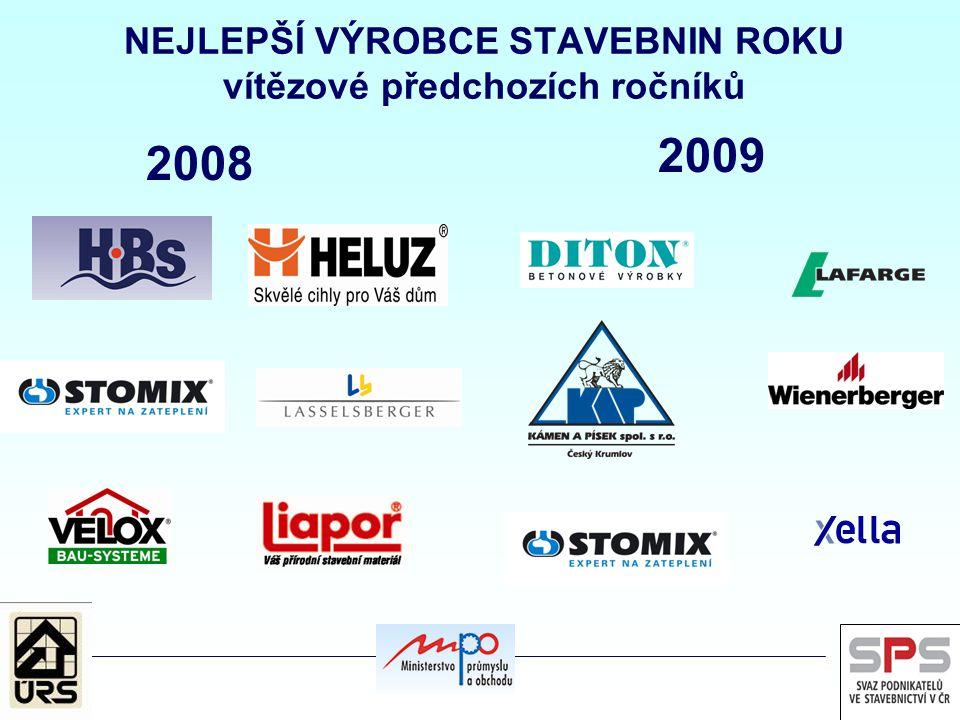 NEJLEPŠÍ VÝROBCE STAVEBNIN ROKU vítězové předchozích ročníků 2008 2009