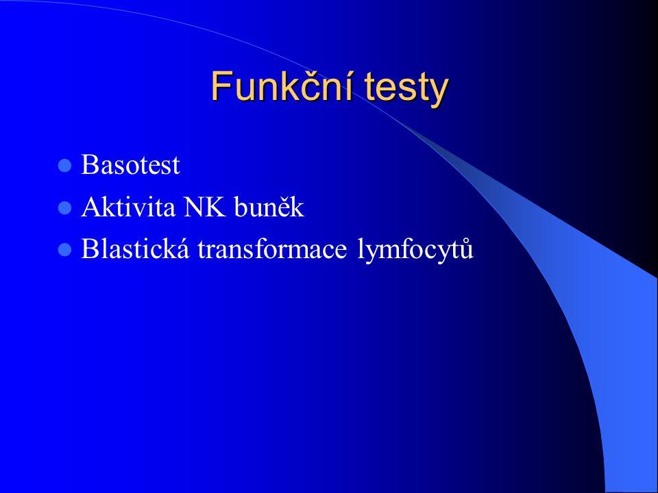 Funkční testy Basotest Aktivita NK buněk Blastická transformace lymfocytů