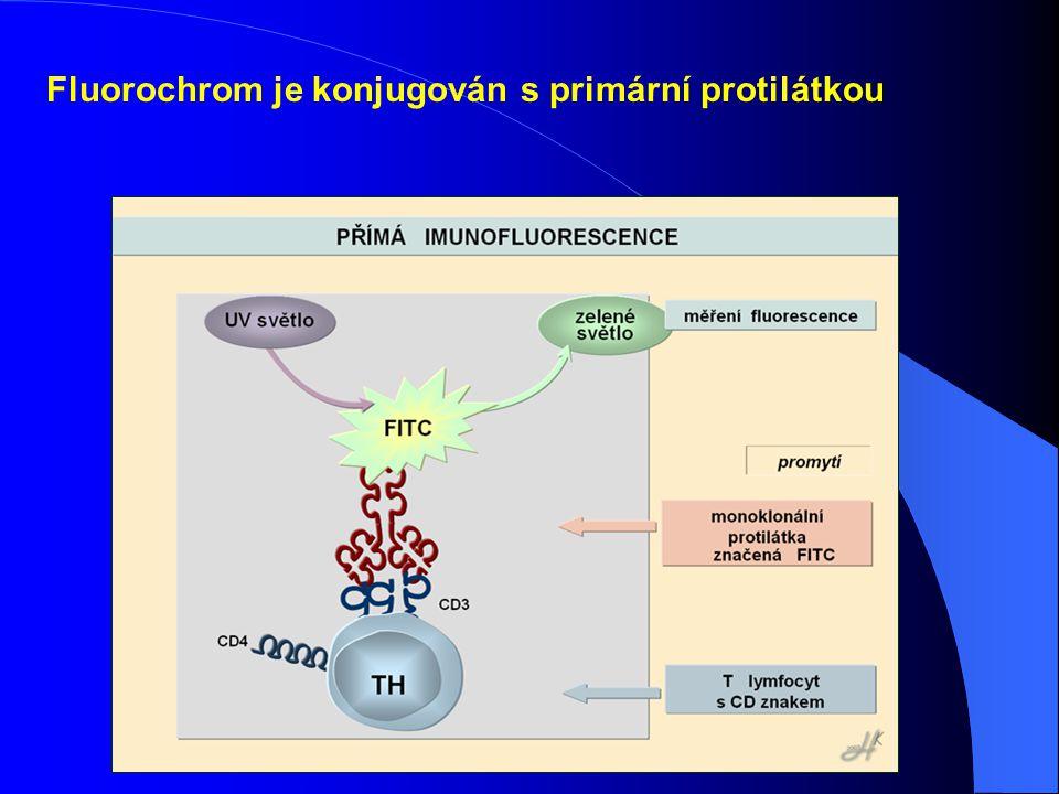 Fluorochrom je konjugován s primární protilátkou