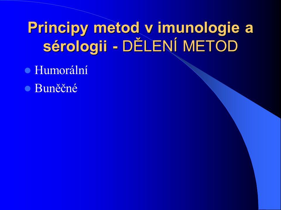 Principy metod v imunologie a sérologii - DĚLENÍ METOD Humorální Buněčné