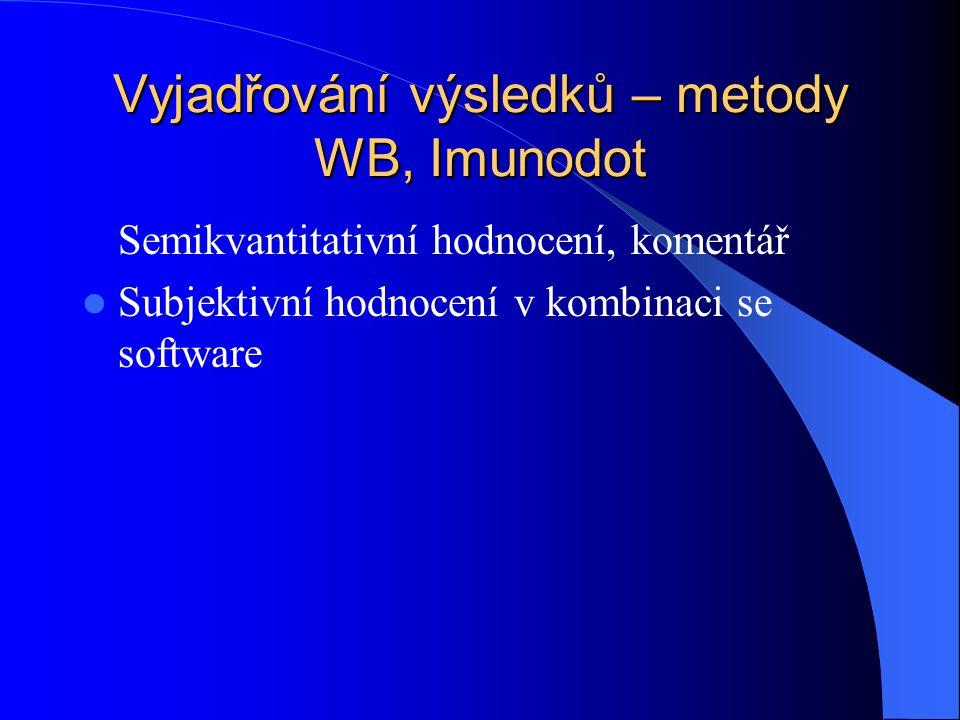 Vyjadřování výsledků – metody WB, Imunodot Semikvantitativní hodnocení, komentář Subjektivní hodnocení v kombinaci se software