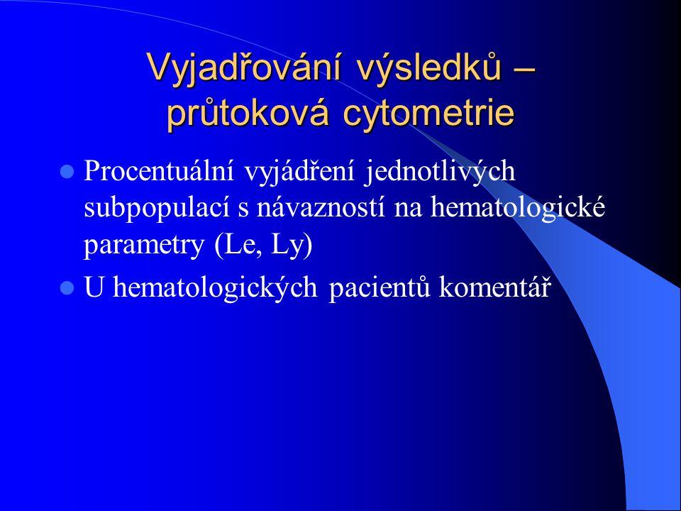 Vyjadřování výsledků – průtoková cytometrie Procentuální vyjádření jednotlivých subpopulací s návazností na hematologické parametry (Le, Ly) U hematol