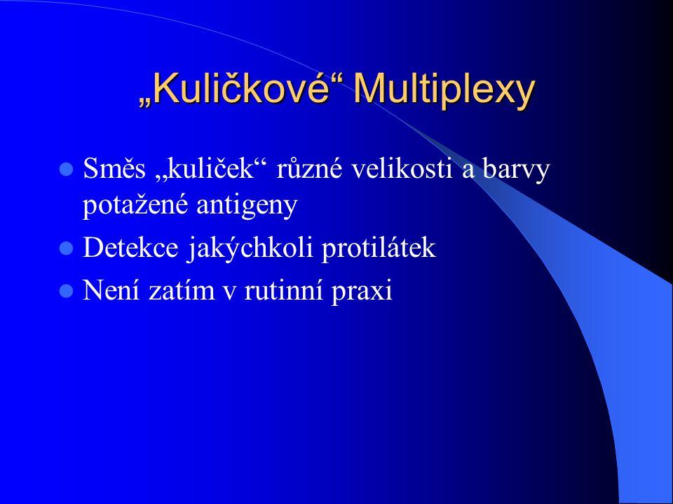 """""""Kuličkové"""" Multiplexy Směs """"kuliček"""" různé velikosti a barvy potažené antigeny Detekce jakýchkoli protilátek Není zatím v rutinní praxi"""