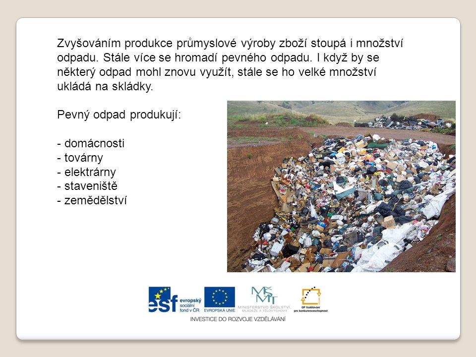 Zvyšováním produkce průmyslové výroby zboží stoupá i množství odpadu.