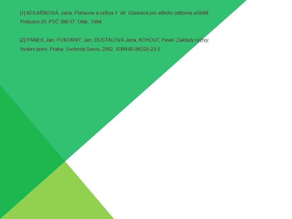 [1] KOLAŘÍKOVÁ, Jana. Potraviny a výživa 1. díl: Učebnice pro střední odborná učiliště. Probulov 20, PSČ 398 07: Orlík, 1994. [2] PÁNEK, Jan, POKORNÝ,