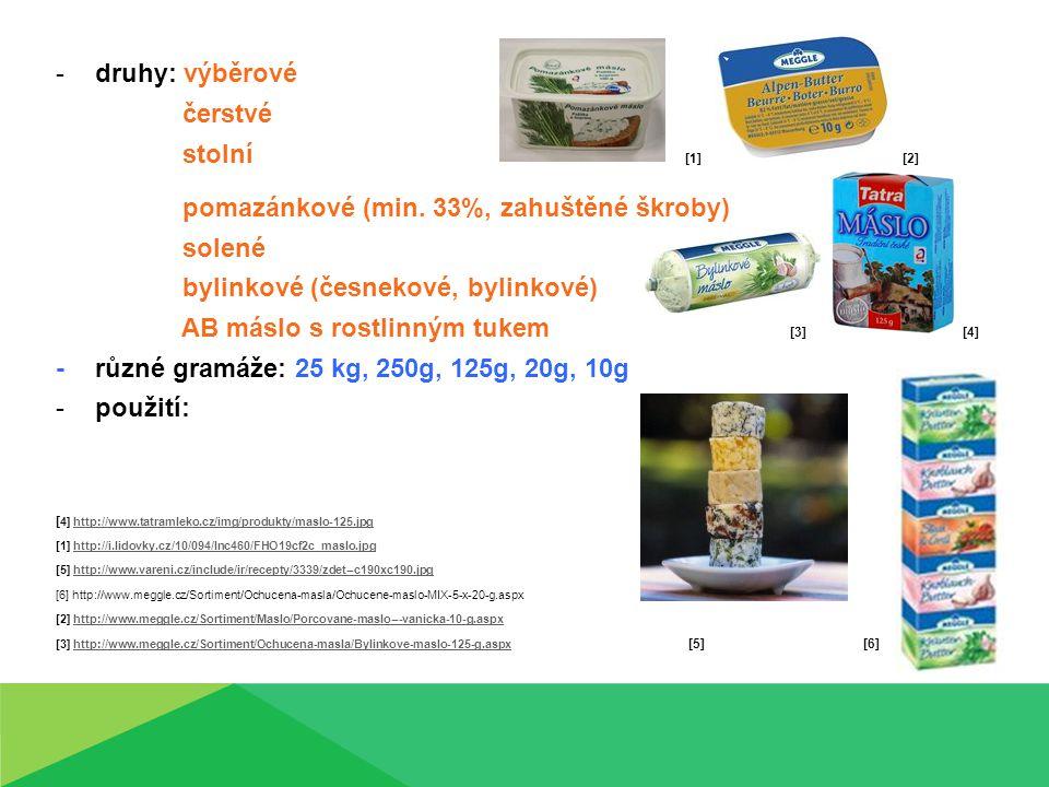 -druhy: výběrové čerstvé stolní [1] [2] pomazánkové (min. 33%, zahuštěné škroby) solené bylinkové (česnekové, bylinkové) AB máslo s rostlinným tukem [