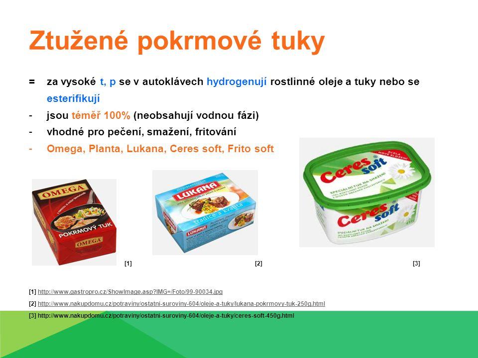 Emulgované tuky -mají snížený podíl tuku – energie [1] -nevýhodou trans-nenasycené mastné kyseliny -obsahují vodnou fázi v různém množství -dělí se: máslo margaríny (hydrogenované nebo esterifikované rostlinné tuky) směsné emulgované tuky (obsahují i mléčný tuk) [2] [3] [4] [1] http://www.ocarto.cz/root/sortiment/001-potraviny/007-mlecne-vyrobky/008-rostlinne-tuky/001-margariny/flora-250g_28238_thmb.jpg http://www.ocarto.cz/root/sortiment/001-potraviny/007-mlecne-vyrobky/008-rostlinne-tuky/001-margariny/flora-250g_28238_thmb.jpg [2] http://static.akcniceny.cz/foto/vyrobky/396500/396291.jpg http://static.akcniceny.cz/foto/vyrobky/396500/396291.jpg [3] http://i.idnes.cz/09/092/gal/CEN2dcf2c_rama.jpg http://i.idnes.cz/09/092/gal/CEN2dcf2c_rama.jpg [4] http://www.potravinydomu.cz/produkt/11291-PERLA-maslova-margarin-500g/index.htm