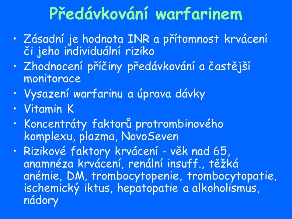 Předávkování warfarinem Zásadní je hodnota INR a přítomnost krvácení či jeho individuální riziko Zhodnocení příčiny předávkování a častější monitorace