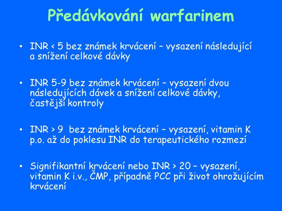 Předávkování warfarinem INR < 5 bez známek krvácení – vysazení následující a snížení celkové dávky INR 5-9 bez známek krvácení – vysazení dvou následu