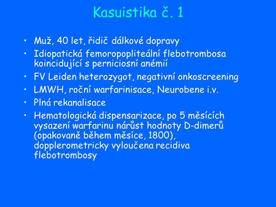 Kasuistika č. 1 Muž, 40 let, řidič dálkové dopravy Idiopatická femoropopliteální flebotrombosa koincidující s perniciosní anémií FV Leiden heterozygot
