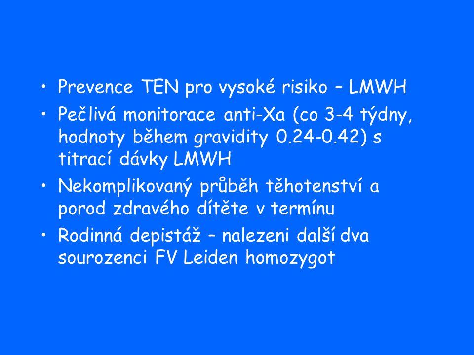 Prevence TEN pro vysoké risiko – LMWH Pečlivá monitorace anti-Xa (co 3-4 týdny, hodnoty během gravidity 0.24-0.42) s titrací dávky LMWH Nekomplikovaný