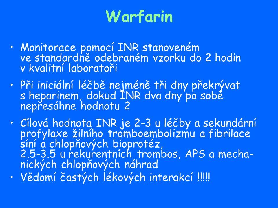Warfarin – protrahovaná léčba Idiopatická trombóza nebo embolie nebo provokovaná epizoda v přítomnosti trombofilie (nad 6 měsíců) Rekurentní TEN (neomezeně) Spontánní TEN u deficitu AT, PC, PS, homozygotů FV Leiden a FII 20210A, kombinovaných hetero- zygotů, APS a pokročilé malignity (neomezeně) Inkompletní rekanalisace trombózy Kinetika D-dimerů po snížení nebo vysazení antikoagulační th.