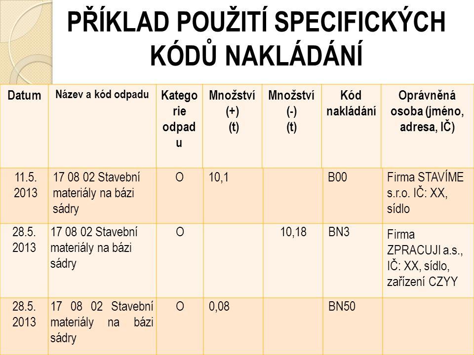 EVIDENCE ODPADŮ (§ 39-40 zákona č. 185/2001 Sb.) Příklady evidence (Centrum pro hospodaření s odpady): http://www.ceho.cz/evidence-a-ohlasovani Specif