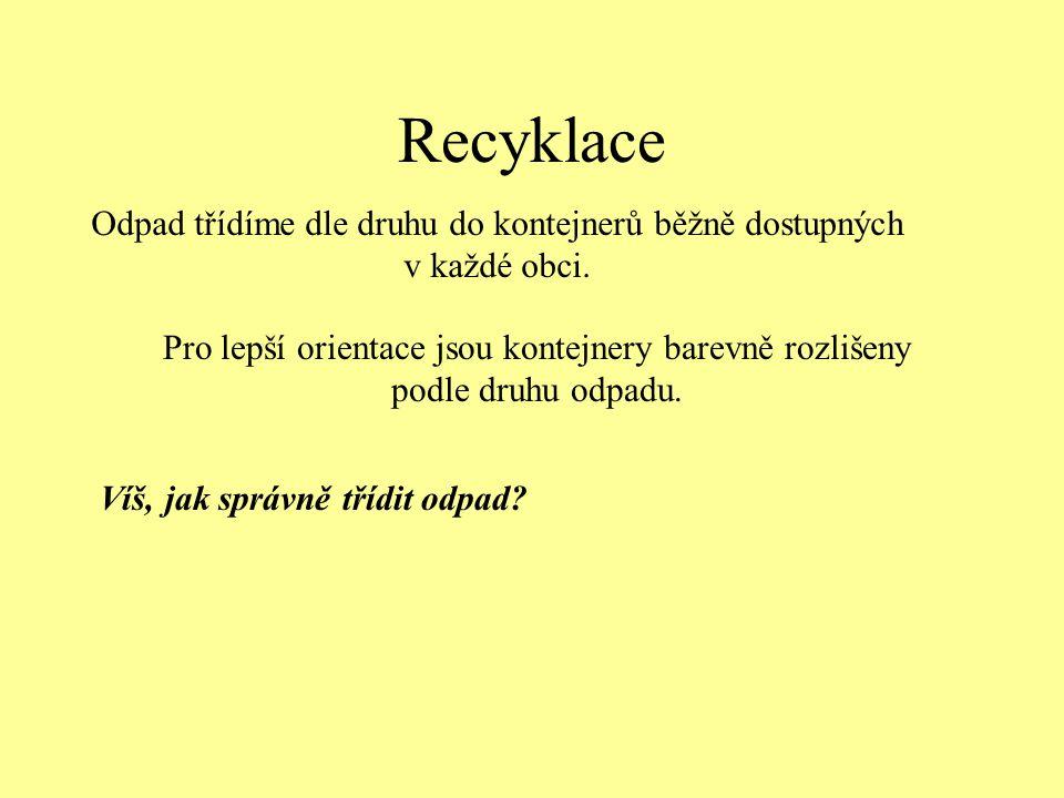 Recyklace Odpad třídíme dle druhu do kontejnerů běžně dostupných v každé obci. Pro lepší orientace jsou kontejnery barevně rozlišeny podle druhu odpad