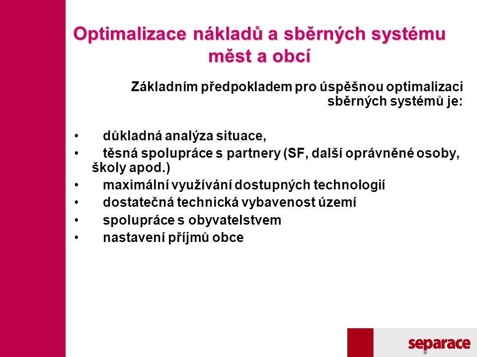 Optimalizace nákladů a sběrných systému měst a obcí Základním předpokladem pro úspěšnou optimalizaci sběrných systémů je: důkladná analýza situace, tě