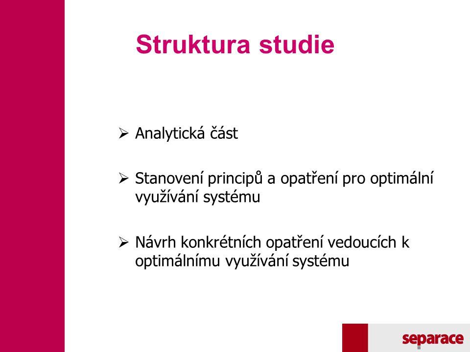 Struktura studie  Analytická část  Stanovení principů a opatření pro optimální využívání systému  Návrh konkrétních opatření vedoucích k optimálním