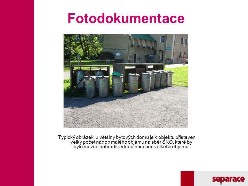 Fotodokumentace Typický obrázek, u většiny bytových domů je k objektu přistaven velký počet nádob malého objemu na sběr SKO, které by bylo možné nahra