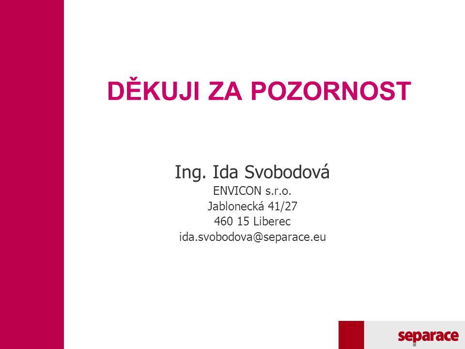 DĚKUJI ZA POZORNOST Ing. Ida Svobodová ENVICON s.r.o. Jablonecká 41/27 460 15 Liberec ida.svobodova@separace.eu