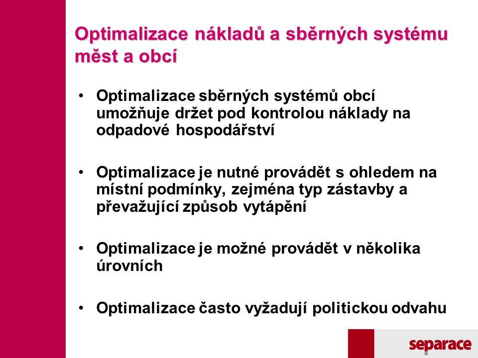 Optimalizace nákladů a sběrných systému měst a obcí Optimalizace sběrných systémů obcí umožňuje držet pod kontrolou náklady na odpadové hospodářství O
