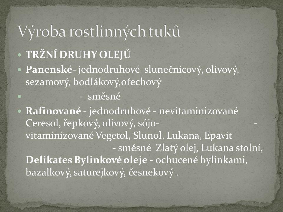 TRŽNÍ DRUHY OLEJŮ Panenské- jednodruhové slunečnicový, olivový, sezamový, bodlákový,ořechový - směsné Rafinované - jednodruhové - nevitaminizované Cer