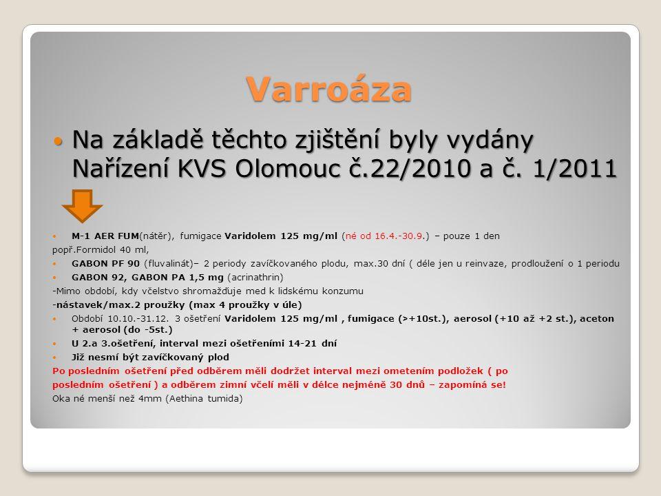 Varroáza Na základě těchto zjištění byly vydány Nařízení KVS Olomouc č.22/2010 a č.