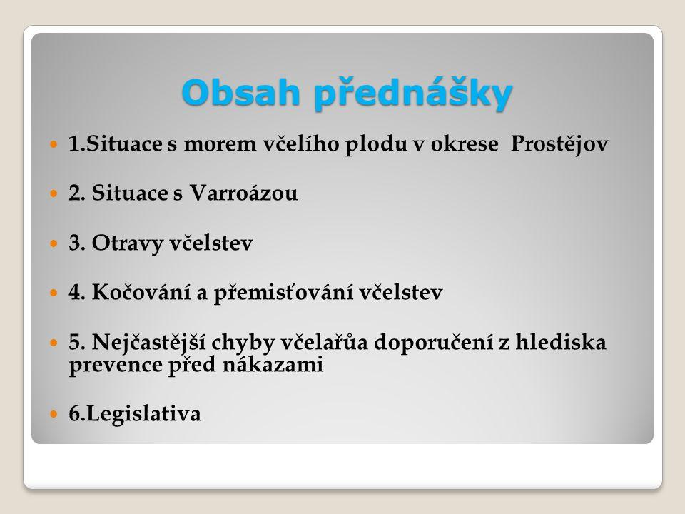 Obsah přednášky 1.Situace s morem včelího plodu v okrese Prostějov 2.