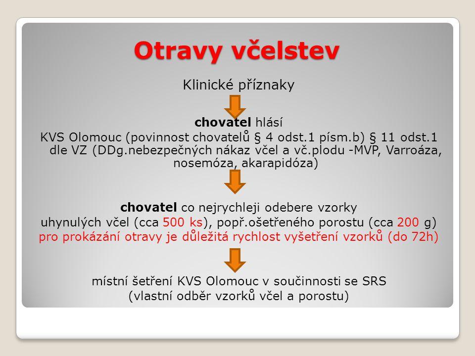 Otravy včelstev Klinické příznaky chovatel hlásí KVS Olomouc (povinnost chovatelů § 4 odst.1 písm.b) § 11 odst.1 dle VZ (DDg.nebezpečných nákaz včel a vč.plodu -MVP, Varroáza, nosemóza, akarapidóza) chovatel co nejrychleji odebere vzorky uhynulých včel (cca 500 ks), popř.ošetřeného porostu (cca 200 g) pro prokázání otravy je důležitá rychlost vyšetření vzorků (do 72h) místní šetření KVS Olomouc v součinnosti se SRS (vlastní odběr vzorků včel a porostu)