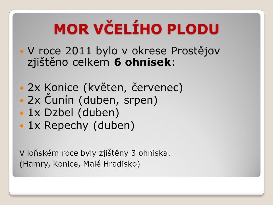 MOR VČELÍHO PLODU V roce 2011 bylo v okrese Prostějov zjištěno celkem 6 ohnisek: 2x Konice (květen, červenec) 2x Čunín (duben, srpen) 1x Dzbel (duben) 1x Repechy (duben) V loňském roce byly zjištěny 3 ohniska.