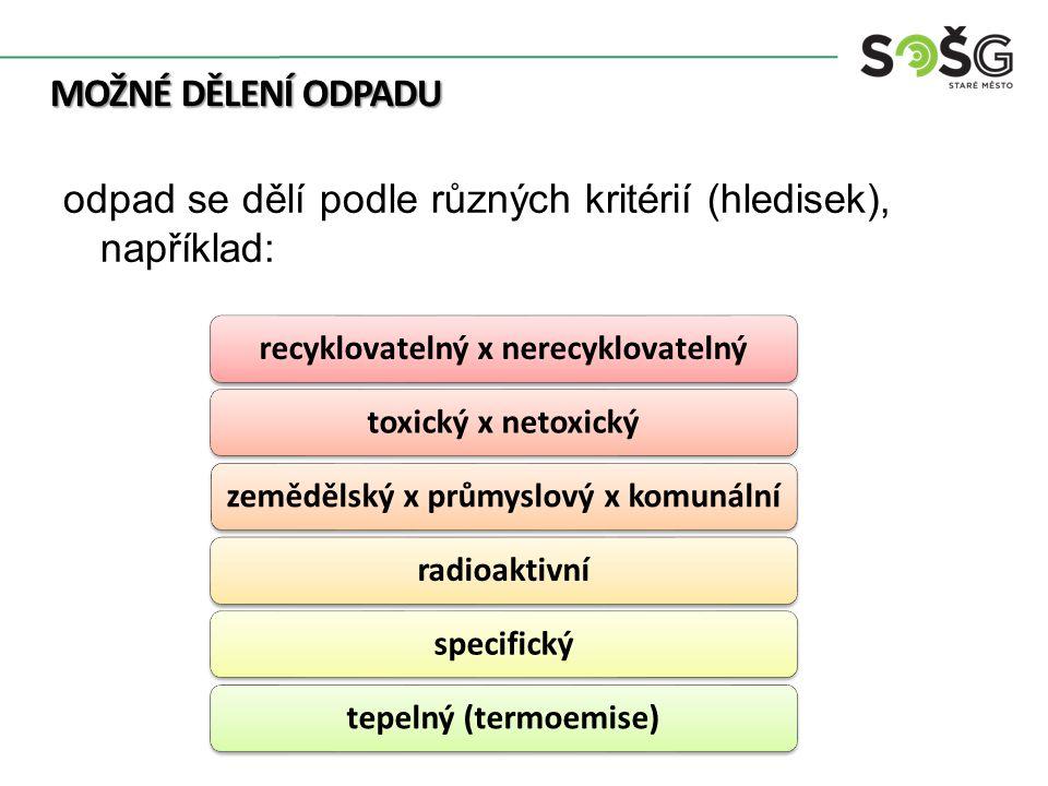 MOŽNÉ DĚLENÍ ODPADU recyklovatelný x nerecyklovatelnýtoxický x netoxickýzemědělský x průmyslový x komunálníradioaktivníspecifickýtepelný (termoemise) odpad se dělí podle různých kritérií (hledisek), například: