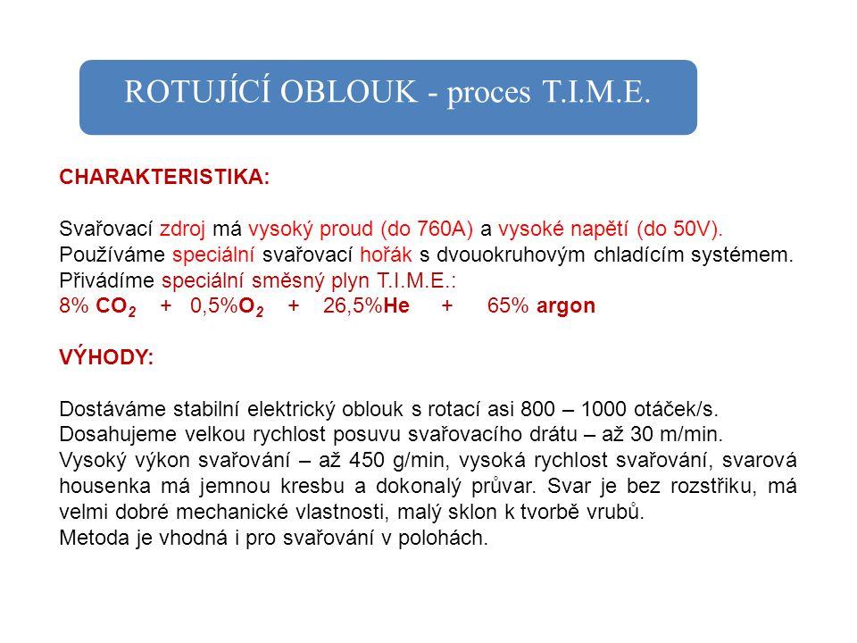 ROTUJÍCÍ OBLOUK - proces T.I.M.E. CHARAKTERISTIKA: Svařovací zdroj má vysoký proud (do 760A) a vysoké napětí (do 50V). Používáme speciální svařovací h