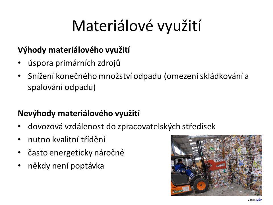 Materiálové využití Výhody materiálového využití úspora primárních zdrojů Snížení konečného množství odpadu (omezení skládkování a spalování odpadu) N