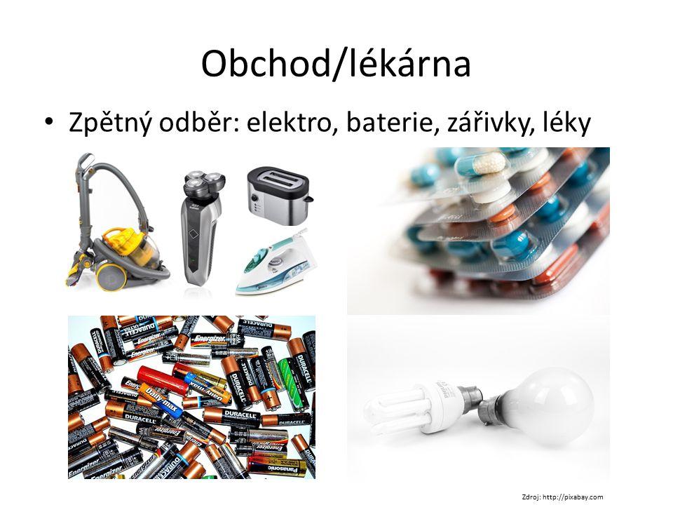 Obchod/lékárna Zpětný odběr: elektro, baterie, zářivky, léky Zdroj: http://pixabay.com