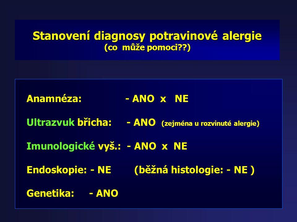 Diagnostika ( Imunologické vyšetření ) Imunoglobuliny IgG, IgA, IgE, endomysium, gliadin, transglutamináza, kravské mléko, pšeniční, žitná, ovesná mou